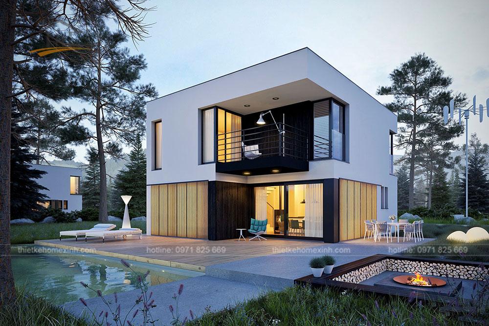 Thiết kế kiến trúc nhà vườn 2 tầng mái bằng hiện đại