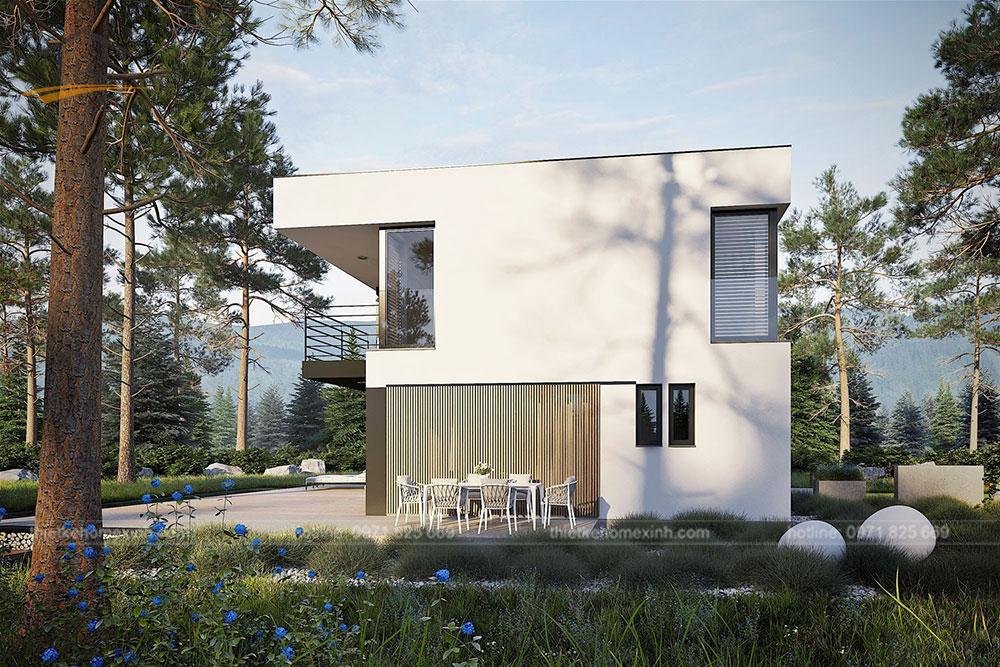 Thiết kế kiến trúc nhà vườn 2 tầng mái bằng hiện đại 3