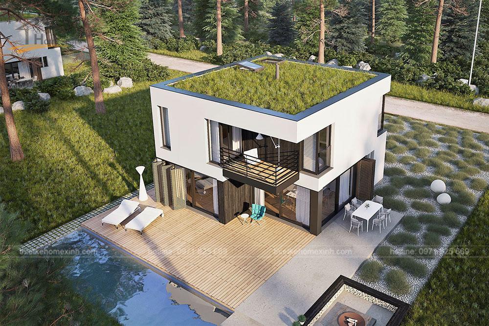 Thiết kế kiến trúc nhà vườn 2 tầng mái bằng hiện đại 4