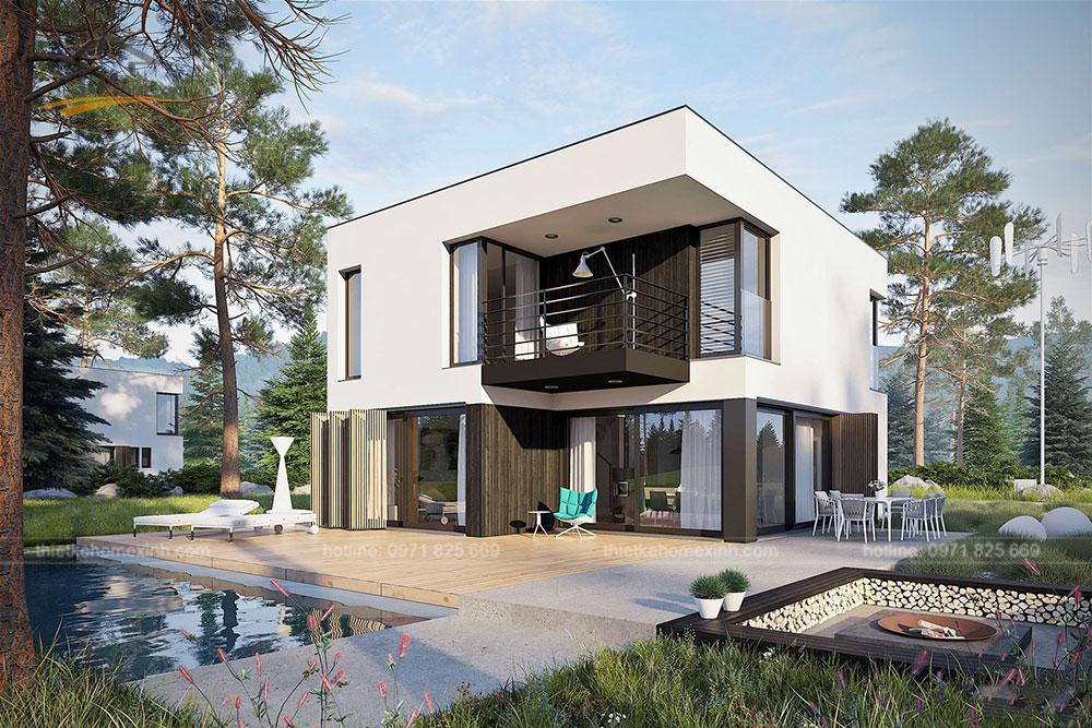 Thiết kế kiến trúc nhà vườn 2 tầng mái bằng hiện đại 5