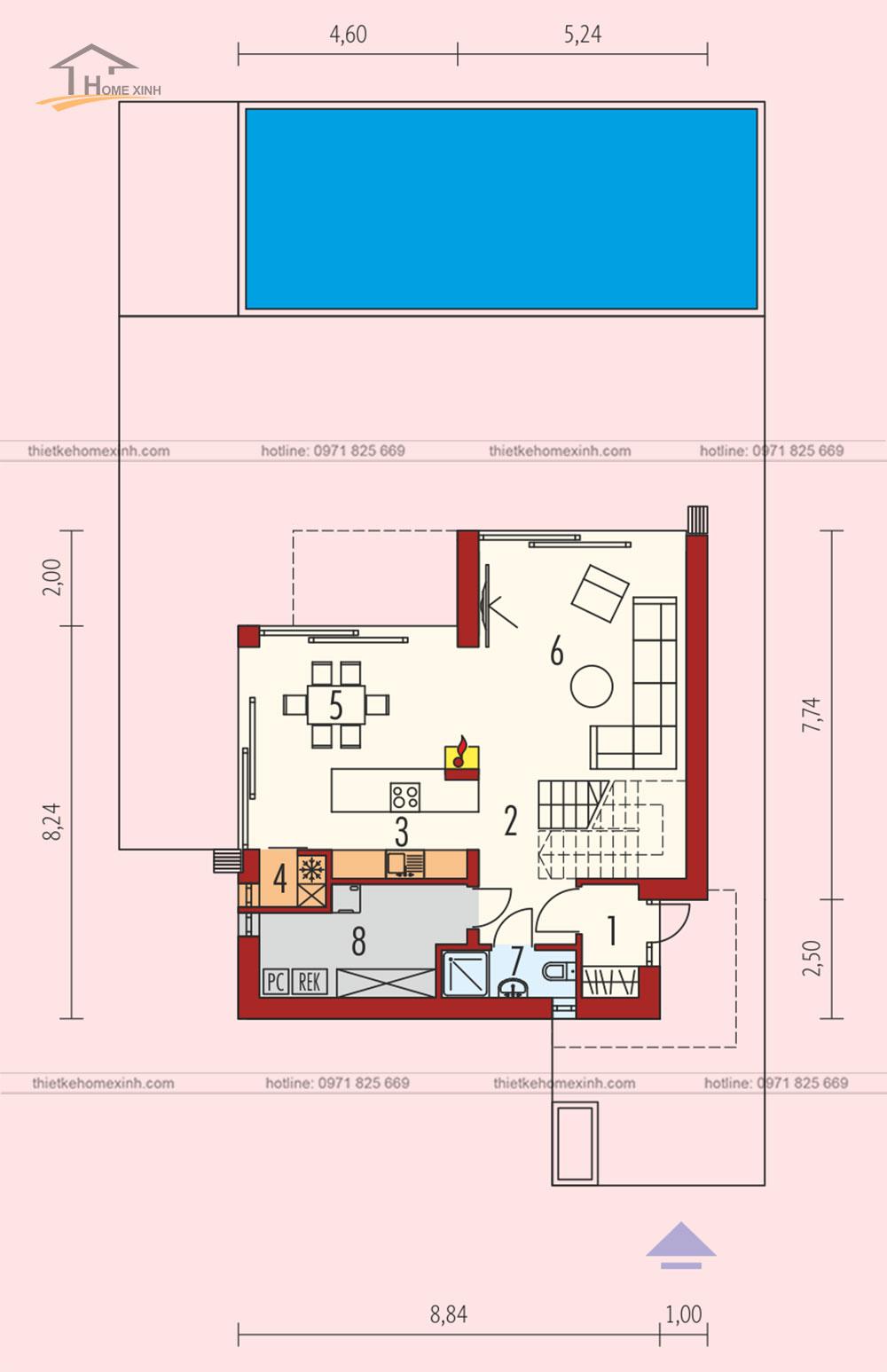 bản vẽ thiết kế kiến trúc nhà vườn 2 tầng mái bằng hiện đại 1