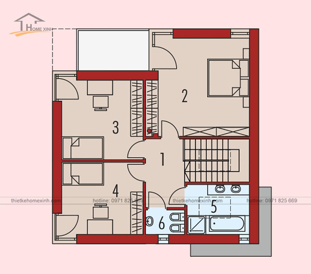 bản vẽ thiết kế kiến trúc nhà vườn 2 tầng mái bằng hiện đại 2