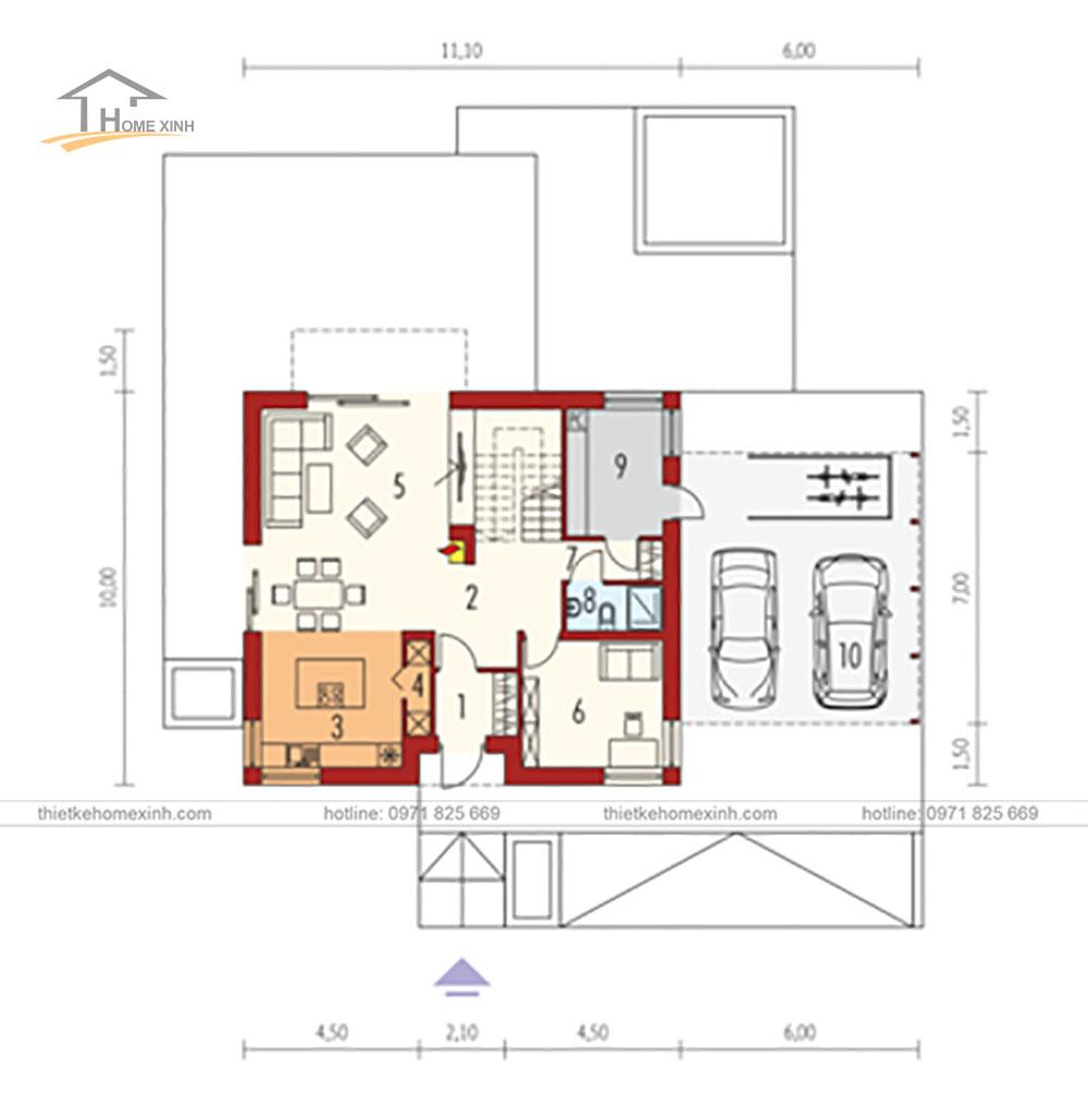 Thiết kế nhà vườn 143m2 phong cách Châu Âu tại Đà Lạt - bản vẽ tầng 1