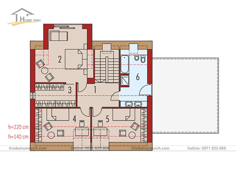Thiết kế nhà vườn 143m2 phong cách Châu Âu tại Đà Lạt - bản vẽ tầng 2