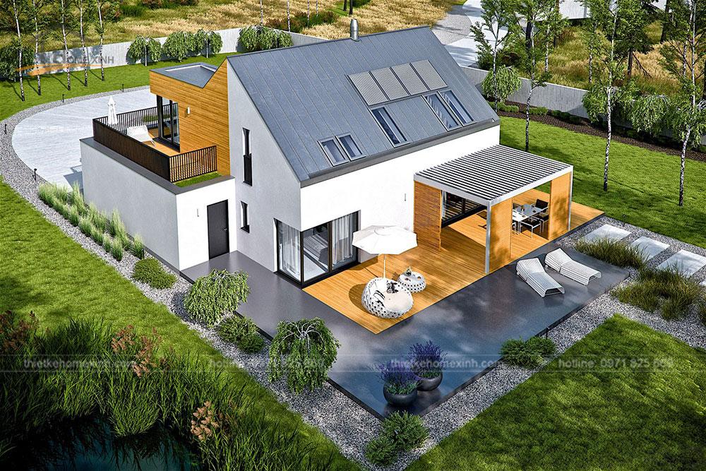 Thiết kế nhà vườn mái thái hiện đại tại Hòa Bình 1
