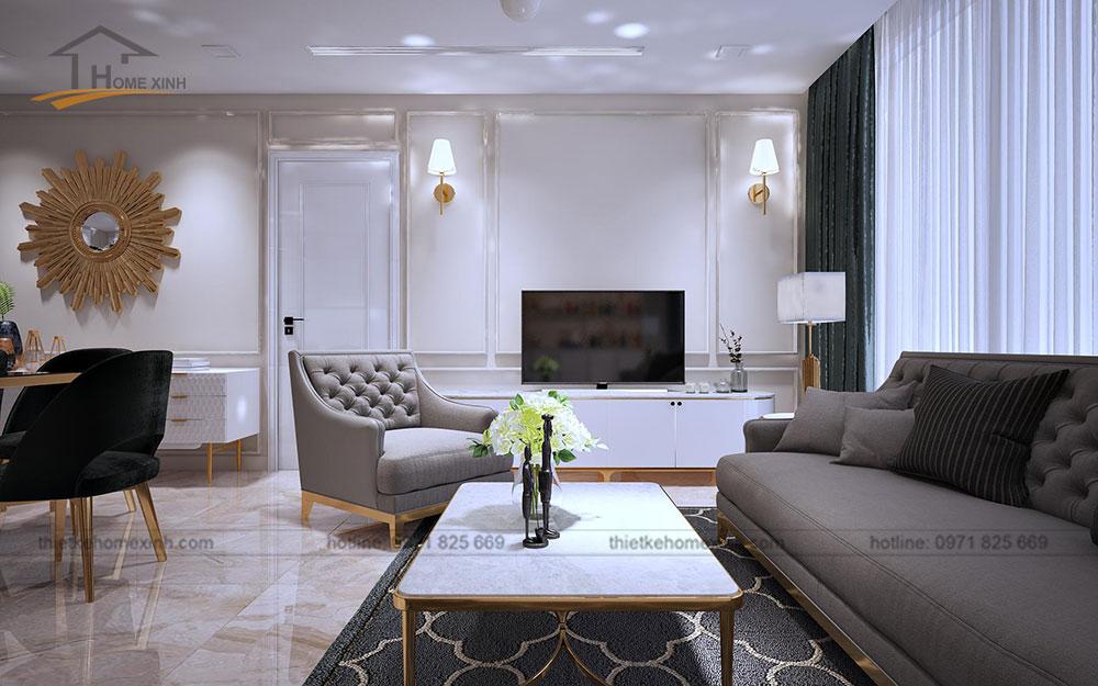Thiết kế nội thất chung cư tại Vinhomes Golden River - phòng khách 2