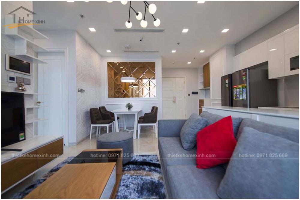 thiết kế phòng khách chung cư 65m2 tai vinhomes golden river 4