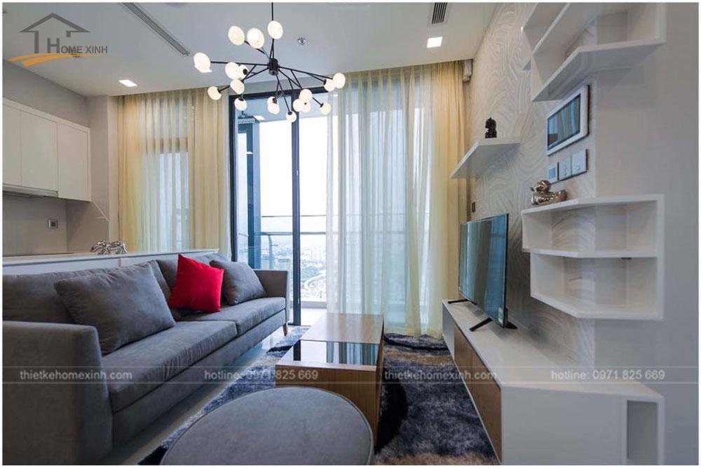 thiết kế phòng khách chung cư 65m2 tai vinhomes golden river 5
