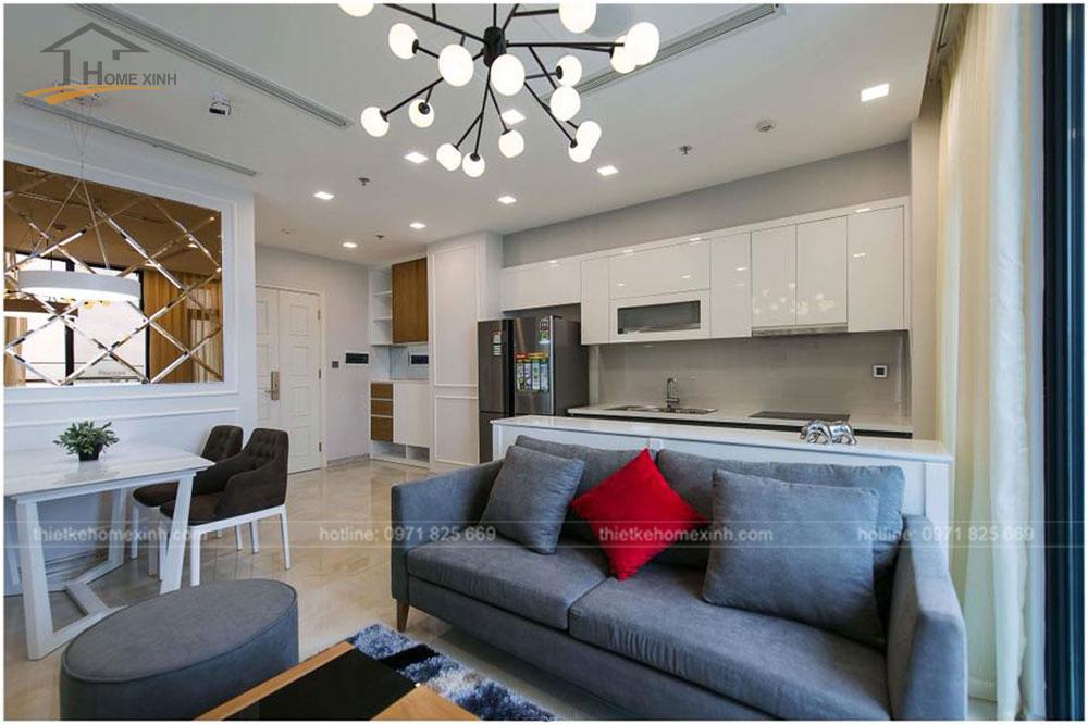 thiết kế phòng khách chung cư 65m2 tai vinhomes golden river 6