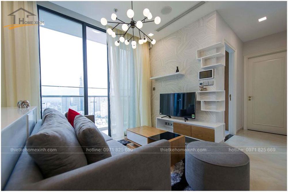 thiết kế phòng khách chung cư 65m2 tai vinhomes golden river 7