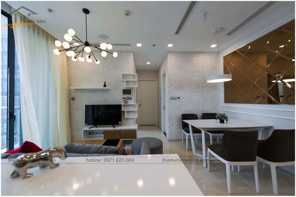 thiết kế phòng khách liền bàn ăn chung cư 65m2 tai vinhomes golden river