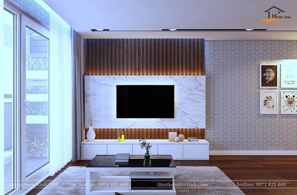 Kệ tivi và vách ốp gỗ rất hiện đại cho phòng khách