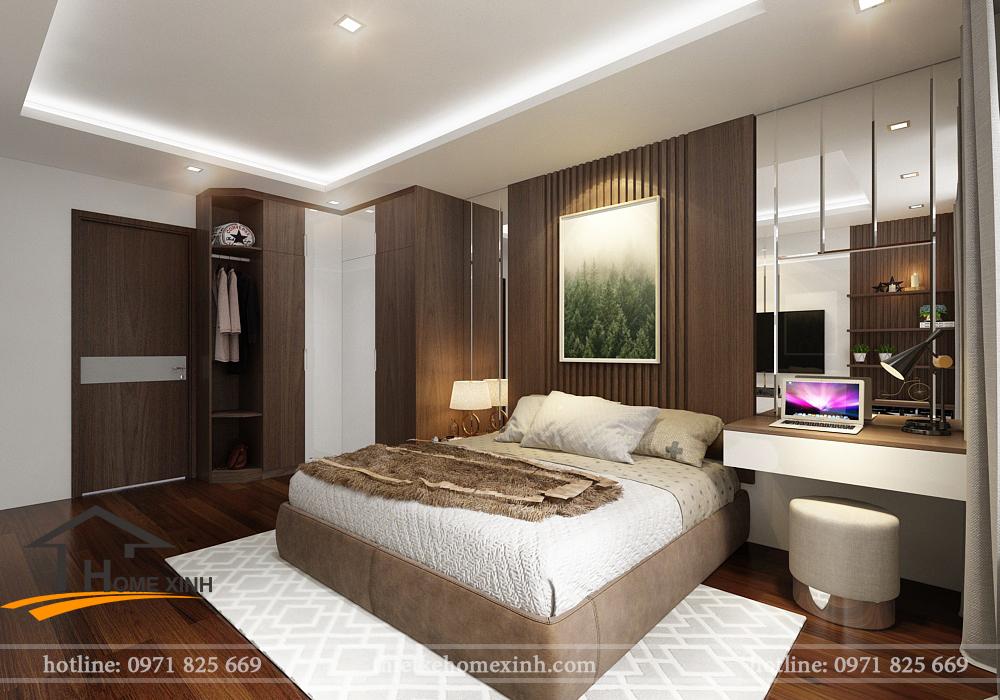 Giường ngủ và vách ốp hiện đại