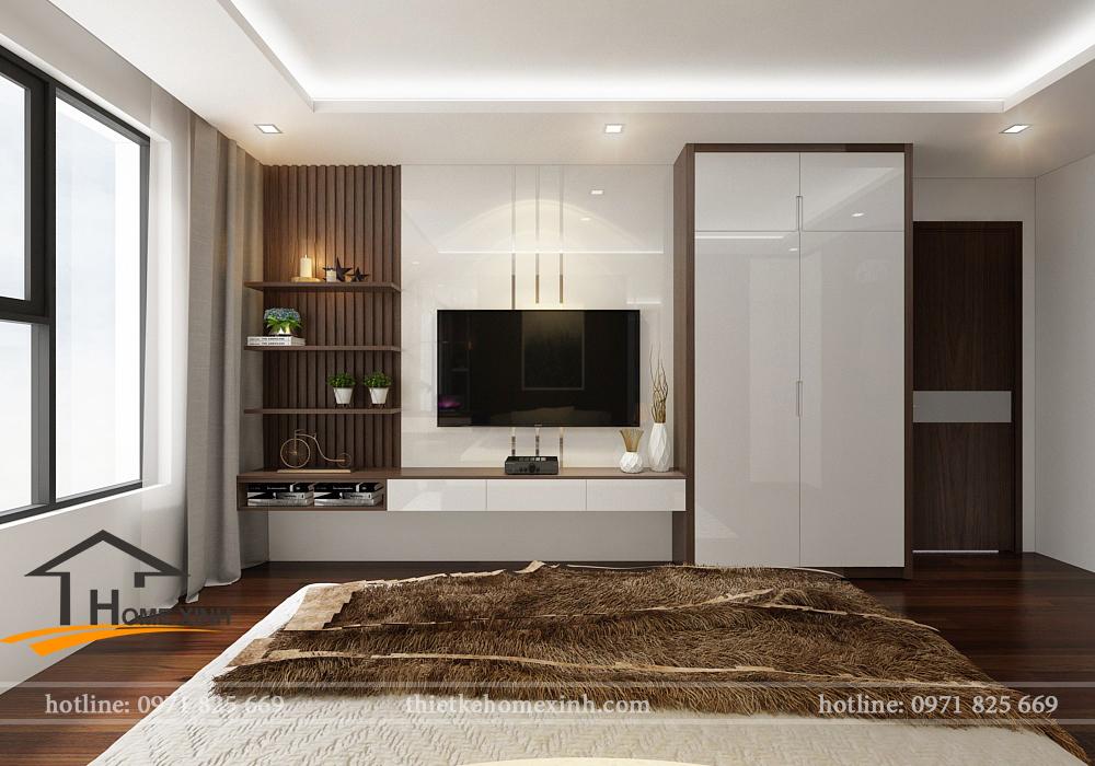 Kệ tivi và hệ vách trong phòng ngủ