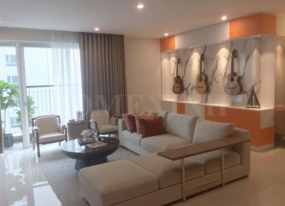 Hình ảnh thi công nội thất phòng khách của căn hộ