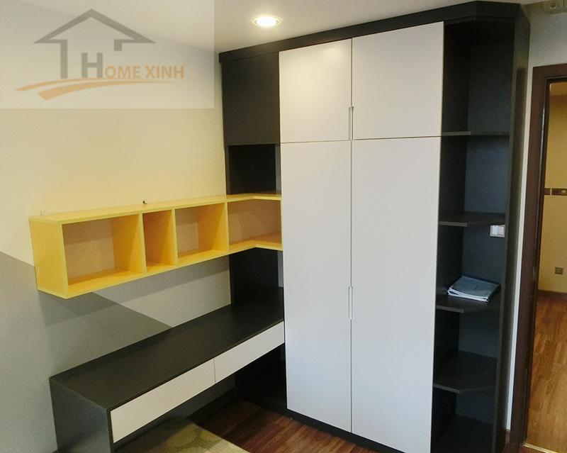 Phòng ngủ khá nhỏ nhưng được thiết kế hài hoà