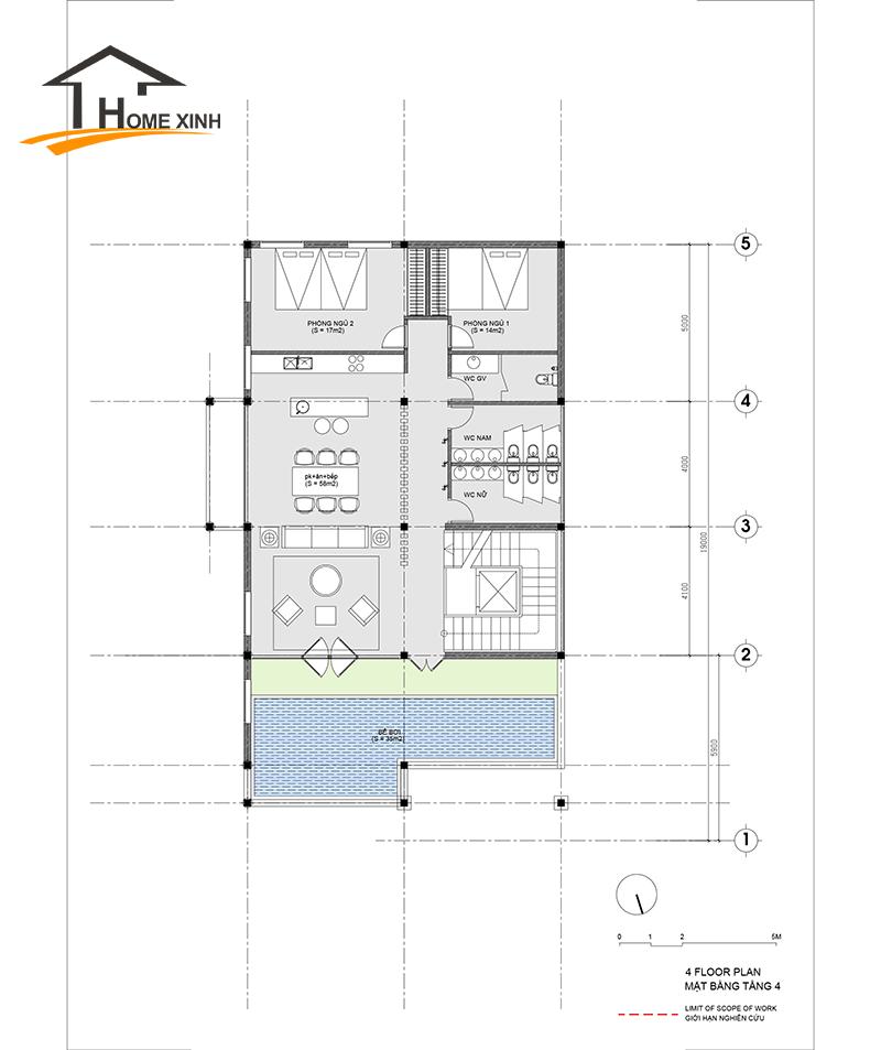 Không gian tầng và 3 được thiết kế phân bổ với nhiều không gian riêng