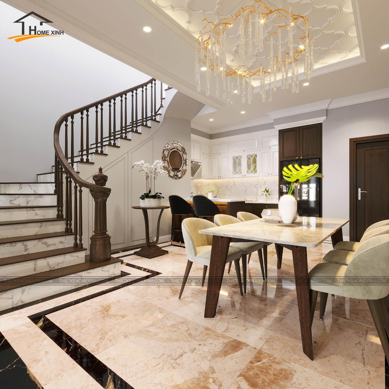 Khu vực bàn ăn gần cầu thang