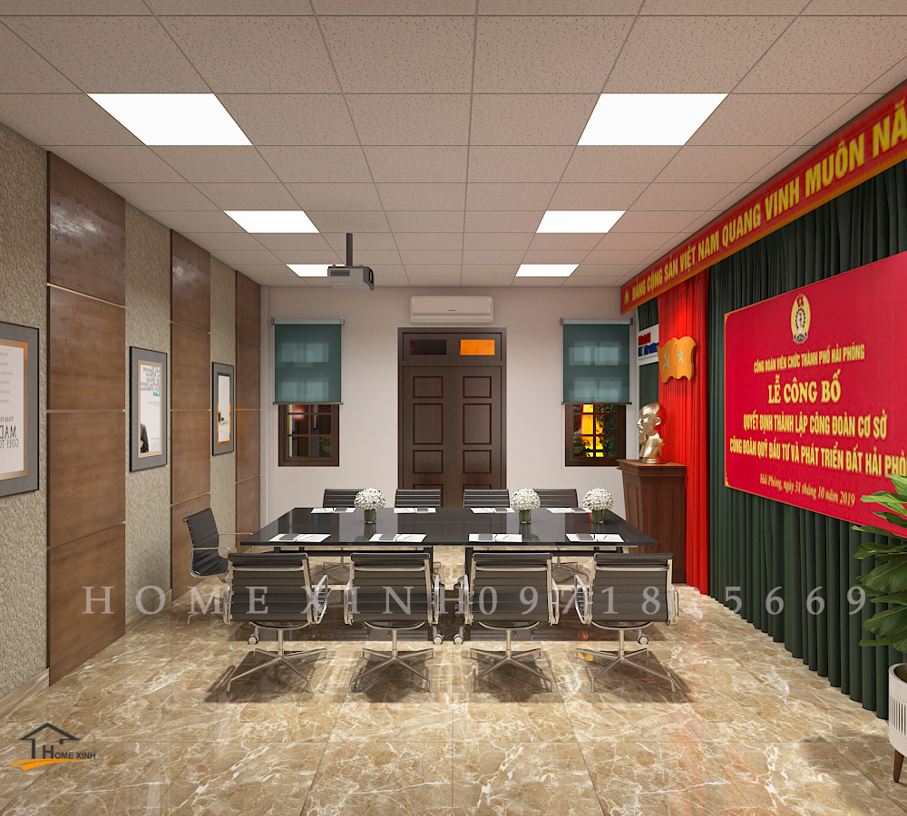 Thiết kế nội thất văn phòng báo kinh tế môi trường