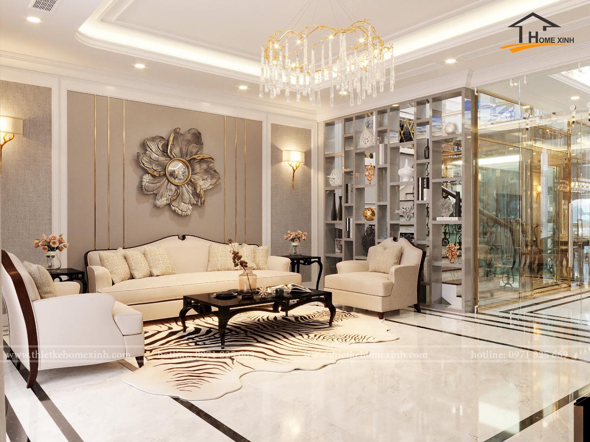 Thiết kế nội thất phòng khách shophouse Louis Đại Mỗ – Anh Phán